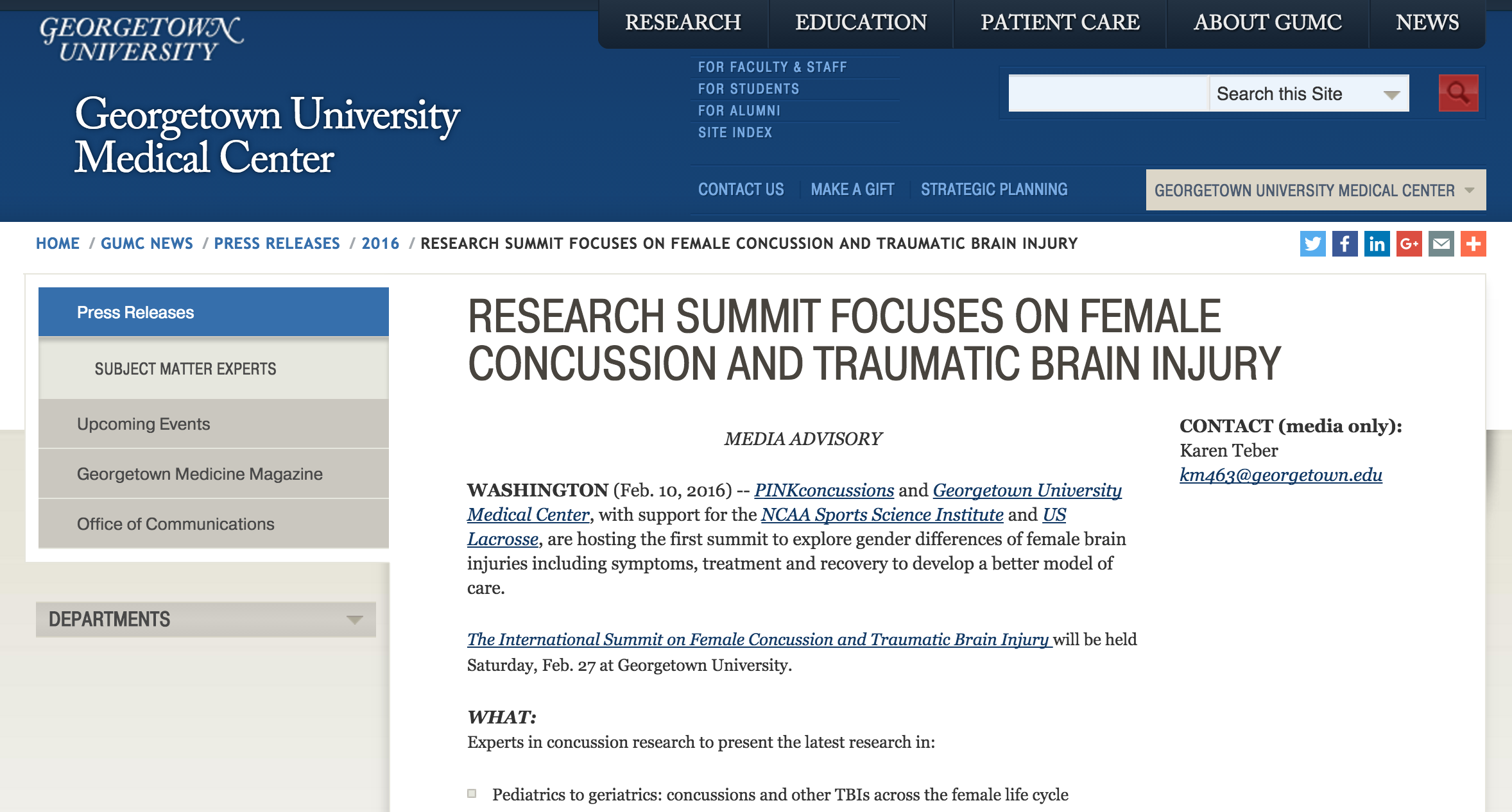 Dr. Harry Kerasidis to Present Latest Findings at NCAA, Georgetown University First-Time Summit on Female Concussions