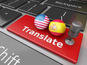 3d Translate Spanish and English on computer keyboard.